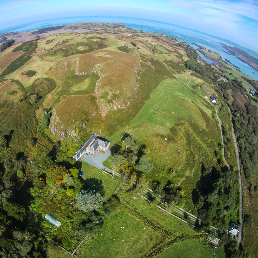aerial view above Penmore House Self Catering