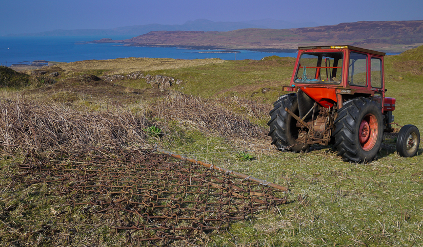 Spring work harrowing bracken