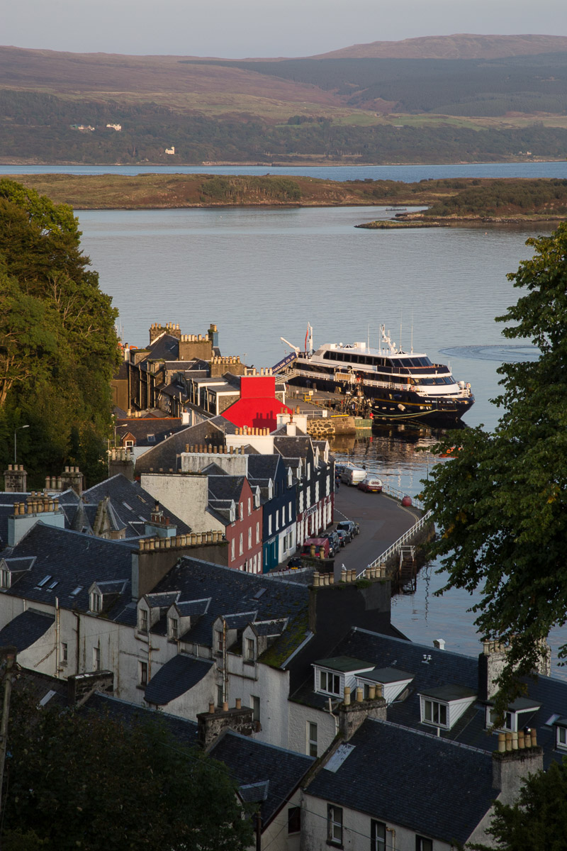 Tobermory on the isle of Mull view of the main street from Argyll terrace